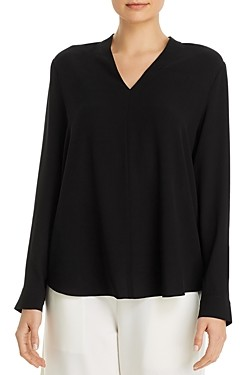 Eileen Fisher Petites Silk V-Neck Top