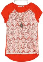 Speechless Girls 7-16 Lace Overlay Top with Necklace