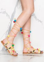Missy Empire Andromeda Yellow Pom Pom Detail Lace Up Sandals