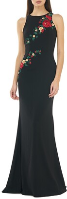 Carmen Marc Valvo Sleeveless Crepe Mermaid Gown w/ Multi Floral Embroidery