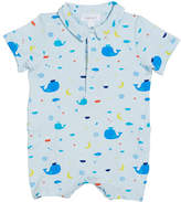 Angel Dear Nautical Whales Collared Shortall, Size 3-24 Months