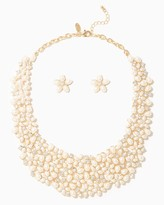 Charming charlie Flower Pearl Bib Necklace Set