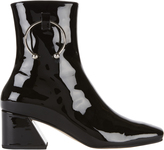 Dorateymur Nizip Silver Piercing Patent Leather Booties
