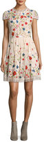 Alice + Olivia Ariel Cap-Sleeve Embroidered Lace Cocktail Dress, Multicolor