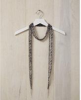 Express chan luu embellished gray leopard skinny scarf