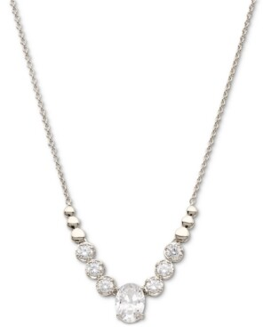 """Eliot Danori Silver-Plated Cubic Zirconia Statement Necklace, 15"""" + 3"""" extender, Created for Macy's"""