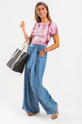 francesca's Lucy Front Knot Palazzo Jeans - Blue