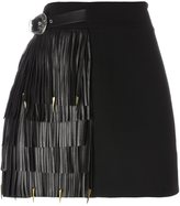 Fausto Puglisi fringed A-line skirt - women - Wool/Lamb Skin/Acetate/Silk - 38