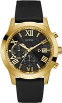 GUESS Men's Black Leather and Gold-Tone Watch