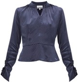 Ganni Open-back Polka-dot Satin Blouse - Womens - Navy