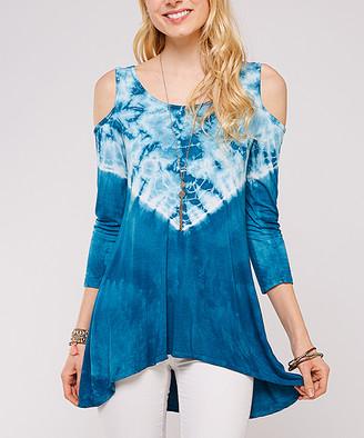Urban X Women's TURQ/WHITE - Turquoise & White Tie-Dye Cold-Shoulder Tunic - Women & Plus