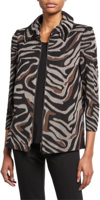 Misook Zip-Front Animal-Print Jacket with Ruched Collar