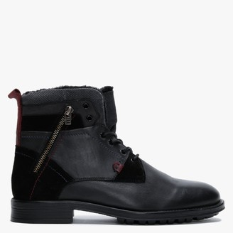 Daniel Stont Black Leather Fleece Lined Ankle Boots
