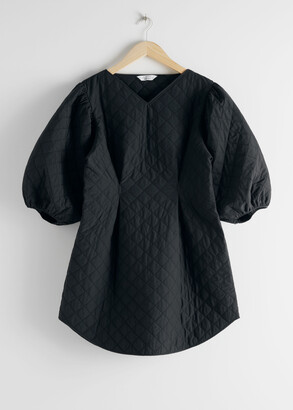 And other stories Quilted Voluminous Puff Sleeve Dress