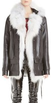 Anthony Vaccarello Long Leather Jacket with Removable Genuine Fox Fur Vest