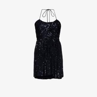 Saint Laurent Womens Blue Sequin Halter Strap Mini Cocktail Dress