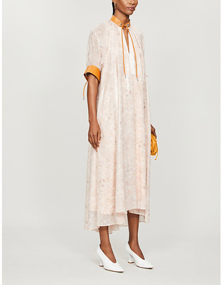 Sportmax Drawstring floral-print crepe midi dress