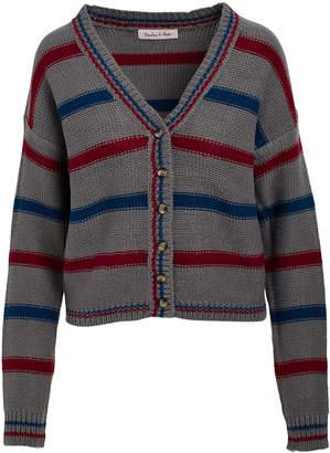 Derek Heart Women's Open Cardigans GREY - Grey & Blue Stripe V-Neck Cardigan - Juniors