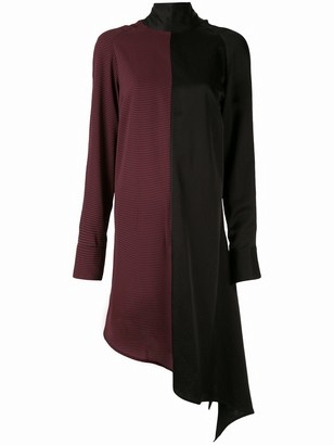 Strateas Carlucci Contrast-Panel Asymmetrical Dress