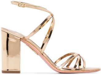 Aquazzura Gin 85mm metallic leather sandals