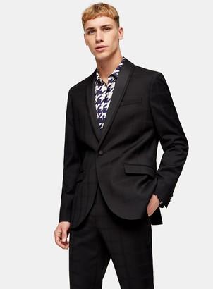 Topman Premium Black Shadow Check Single Breasted Tuxedo Blazer With Shawl Lapel