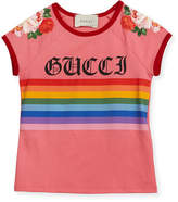 Gucci Rainbow Loved Logo T-Shirt, Size 4-12