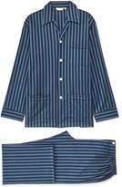 Derek Rose Royal 199 Navy Striped Cotton Pyjama Set