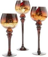 Home Essentials Chocolate Charisma Crackle Glass Hurricanes, Set of 3
