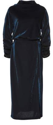 Sally LaPointe Metallic Jersey Mock Neck Dress With Rouched Sleeves