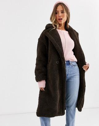 Qed London oversized coat in borg