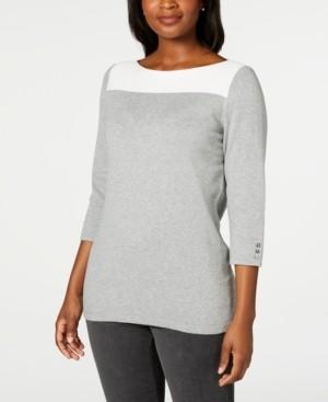 Karen Scott Cotton Colorblocked Sweater, Created for Macy's