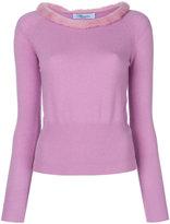 Blumarine fur neckline sweater