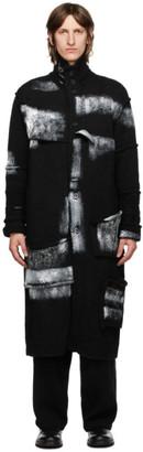 Yohji Yamamoto Black Wool Painted Long Cardigan