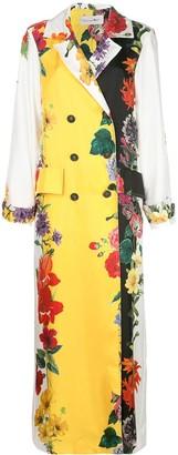 Oscar de la Renta Floral Print Silk Double-Breasted Coat
