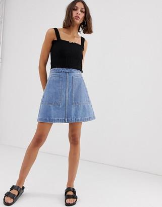 Weekday A-line denim skirt in blue