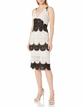 Dress the Population Women's Vera Striped Lace Plunging Fitted Sheath Midi Dress White/Black