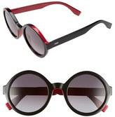Fendi Women's 51Mm Round Sunglasses - Black/ Fuchias