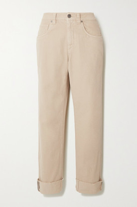 Brunello Cucinelli Bead-embellished Mid-rise Straight-leg Jeans - Beige