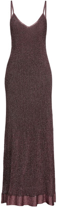 M Missoni Metallic Pointelle-knit Maxi Slip Dress