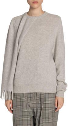 Proenza Schouler Cashmere Scarf-Shoulder Drop-Sleeve Sweater