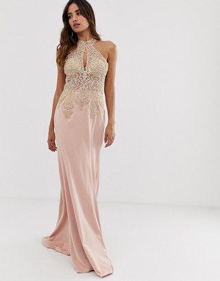 Jovani halterneck fitted maxi dress with embellished detail-Pink