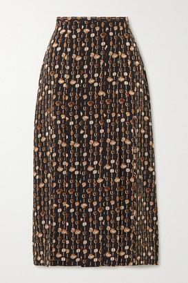 Rixo Printed Silk-crepe Midi Skirt - Black