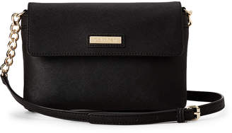 Calvin Klein Black & Gold Faux Saffiano Leather Crossbody