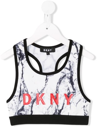 DKNY Marble-Print Cropped Top