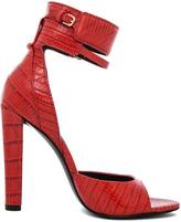 Alexander Wang Aminata Croc & Lizard Print Ankle Cuff Sandal in Tang