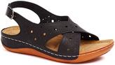 Signature Black Cutout Crisscross Sandal