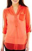 JCPenney by&by Button-Front Roll-Tab Shirt