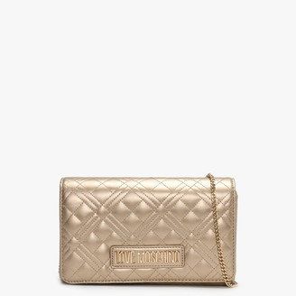 Love Moschino Diamond Quilted Check Gold Cross-Body Bag