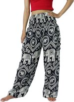 NaLuck Women's Boho Hippie Elephant Jumpsuit Smocked Waist Yoga Harem Pants PJ10