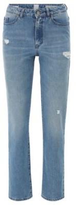 BOSS Regular-fit jeans in blue distressed stretch denim